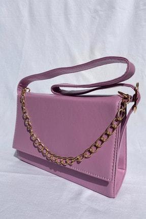 Rüya Bags Kapaklı Zincir Detaylı Lila Kadın Baget Çanta