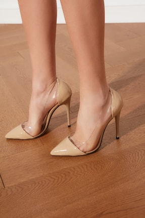TRENDYOLMİLLA Bej Şeffaf Detaylı Kadın Klasik Topuklu Ayakkabı TAKSS21TO0011