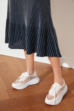 TRENDYOLMİLLA Gümüş Kalın Tabanlı Tül Detaylı Kadın Sneaker TAKSS21SN0015