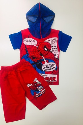 SPIDERMAN Örümcek Adam Eşofman Takımı Spiderman Kostümü Maskeli Kapri Şort Tshirt
