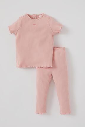 DeFacto Kız Bebek Kalp Nakışlı Fitilli Pijama Takımı
