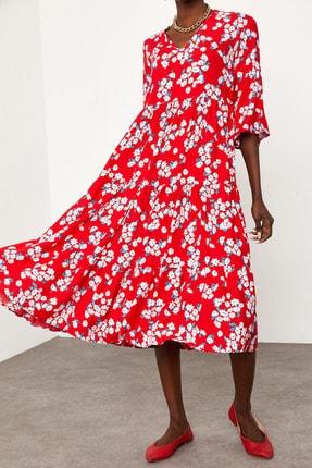 XENA Kadın Kırmızı Robalı Viskon elbise 1KZK6-11531-04