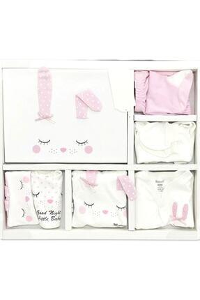 Miniworld Kız Bebek Pembe Pamuk Uyuyan Tavşan 10 Parça Hastane Çıkışı Zıbın Takımı