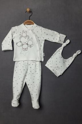 Flexi Kız Bebek Ekru Yıldızlı Tavşanlı Zıbın Seti 3 Parça