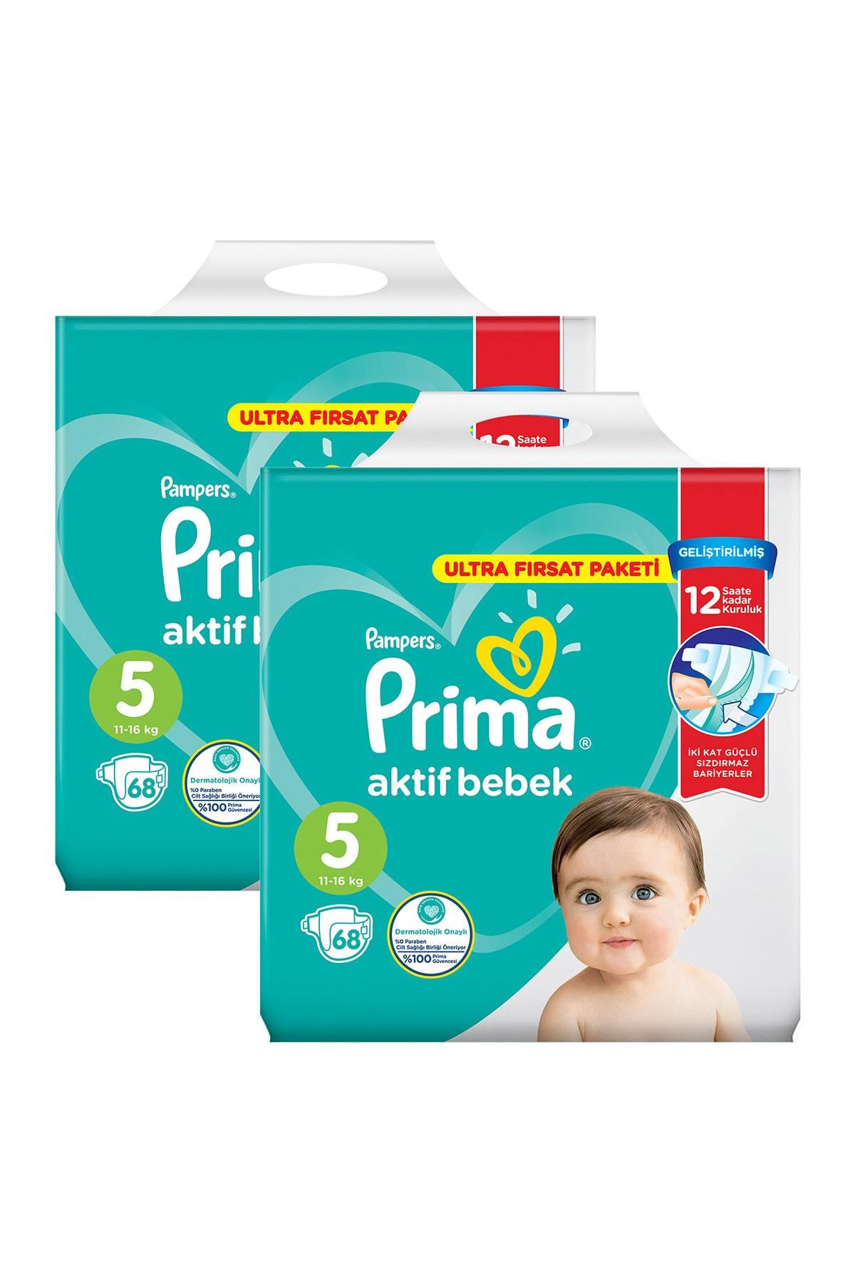 Prima Bebek Bezi Aktif Bebek 5 Beden 136 Adet Ekonomik Ultra Fırsat Paketi 2