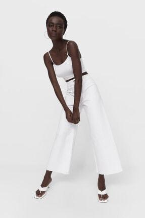 Stradivarius Kadın Beyaz Dikişsiz Fitilli Culotte Pantolon