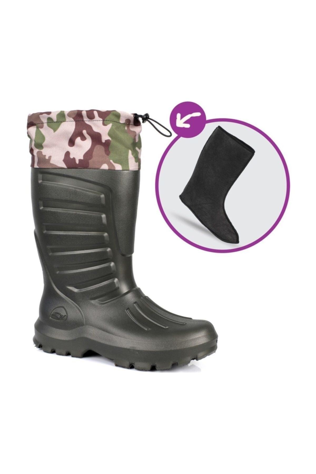 Sonimix Unisex Haki Konçlu Çoraplı Çizme H 2