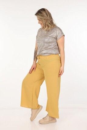 Womenice Kadın Hardal Dökümlü Bol Paça Pantolon