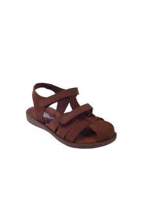 Toddler Unisex Çocuk Tarçın Rengi Doğal Deri  01216 Çift Cırtlı Sandalet 21-25