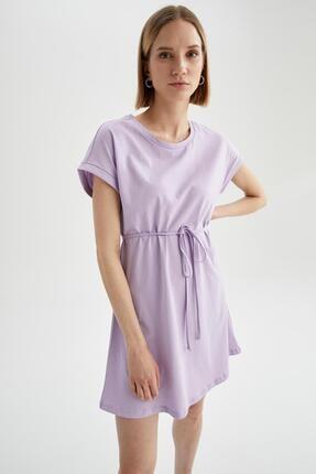 DeFacto Kadın Mor Basic Beli Bağcıklı Elbise