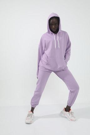 Grenj Fashion Kadın Lila Iki Iplik Kapüşonlu Kanguru Cepli Örme Sweatshirt