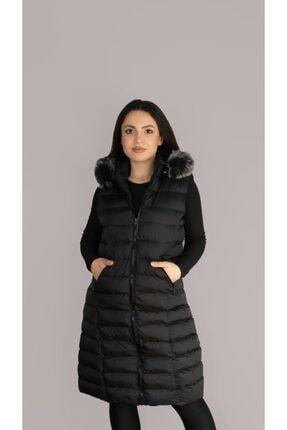 Altay Kadın Siyah Uzun Gri Kürklü Kapşon Şişme Yelek - 95cm