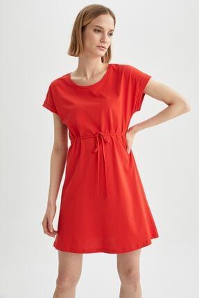 DeFacto Kadın Kırmızı Basic Beli Bağcıklı Elbise