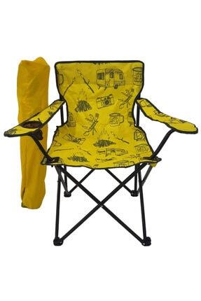Bofigo Kamp Sandalyesi Katlanır Sandalye Bahçe Koltuğu Piknik Plaj Balkon Sandalyesi Desenli Sarı