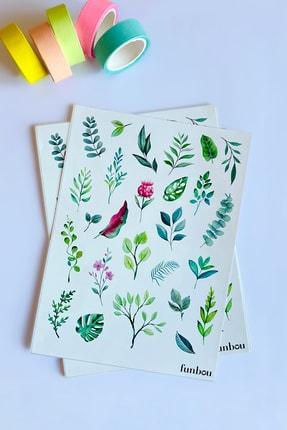 Funbou Şekilli Sticker, Leaves / 2 Sayfa