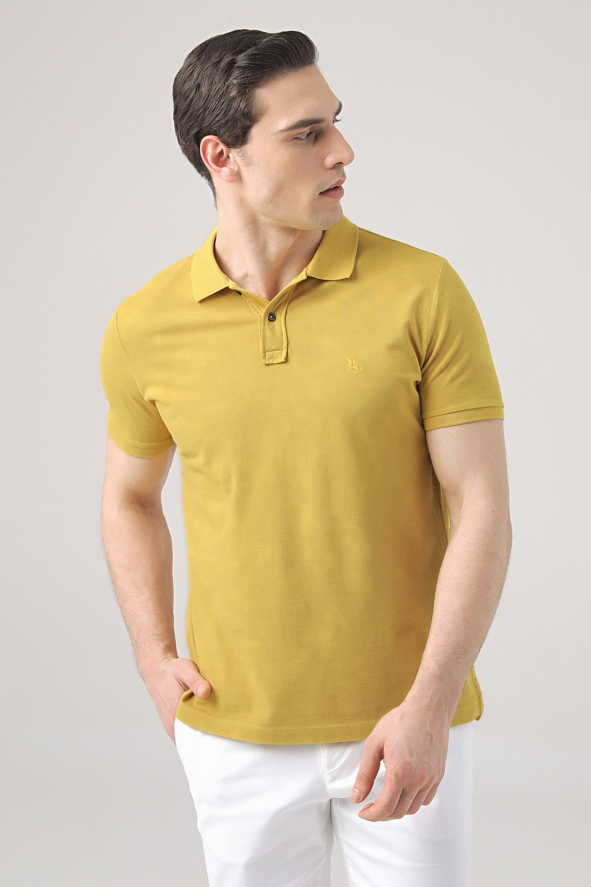 D'S Damat Erkek Safran Rengi Regular Fit Pike Dokulu T-shirt 1