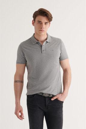 Avva Erkek Gri Polo Yaka Düz T-shirt A11b1146