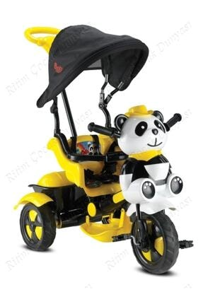 BabyHope Sarı Siyah Panda Üçteker 1-2-3-4 Yaş Arası Kontrollü Bebek Bisikleti 127