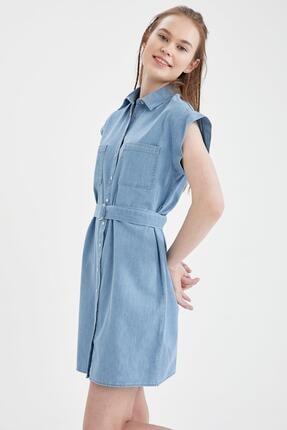 DeFacto Kadın Mavi Kemer Detaylı Slim Fit Jean Elbise