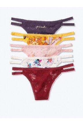 Victoria's Secret Kadın Pınk 5'li Lace Strappy Thong 5'li Dantel Bantlı Tanga Külot