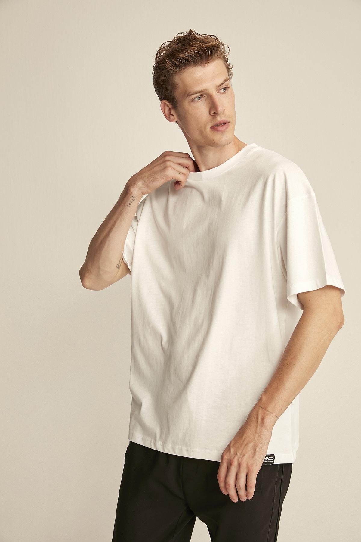 GRIMELANGE JETT Beyaz Erkek Basic Bol Kesim T-shirt 1