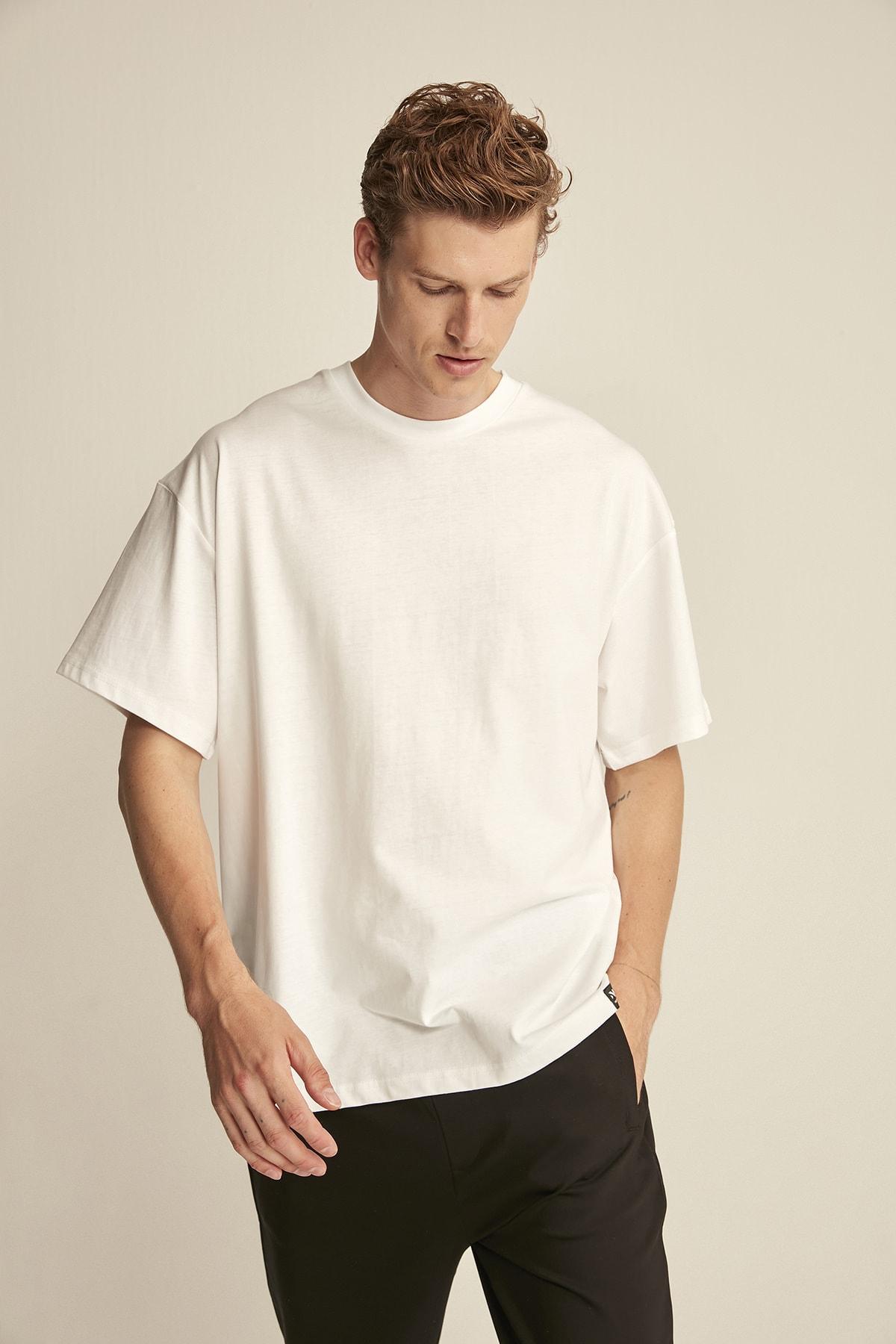 GRIMELANGE JETT Beyaz Erkek Basic Bol Kesim T-shirt 2