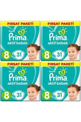 Prima Bebek Bezi 8 Beden-numara 17+ kg 31 Li 4 Paket 124 Adet