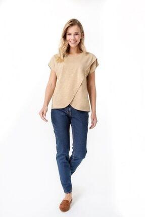 Accouchee Kadın Bej  Kolay Emzirme Özellikli Hamile T-Shirt