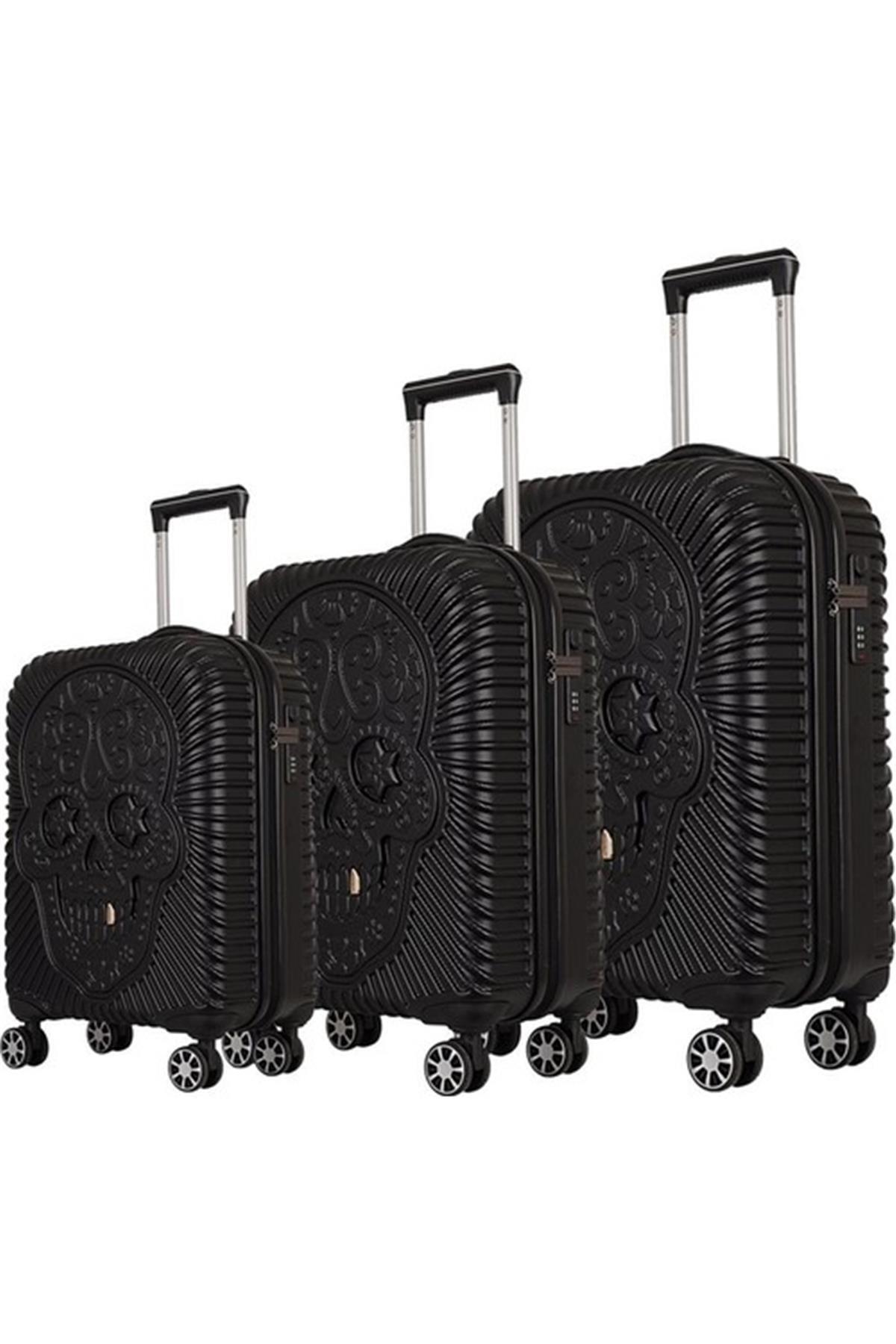 ÇÇS Grillz Collection Büyük Orta Ve Kabin Boy Valiz Seti Siyah 5180 1