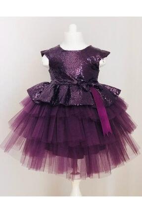 Buse&Eylül Bebe Mürdüm Pul Payet Kız Çocuk Elbisesi