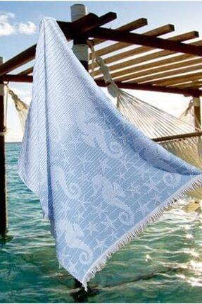 Riva Havlu Peştemal, Plaj Havlusu, Banyo Havlusu, Mavi Denizatı Desen