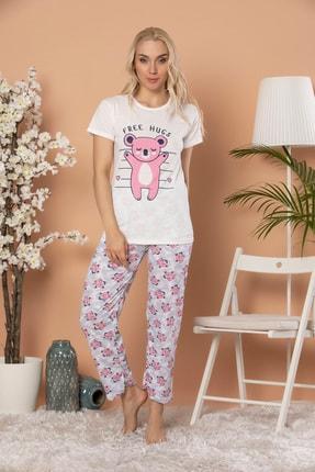 STRAWBERRY Kadın Ekru Baskılı Kısa Kol Pijama Takım