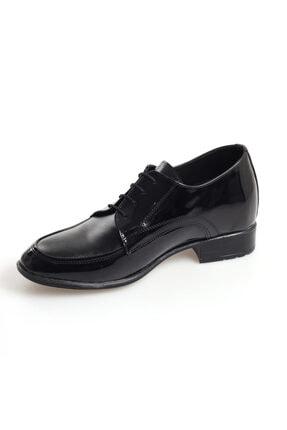 AYAK-KABI Erkek Siyah Mat Aynalı Boy Uzatan Günlük Ve Damatlık Rugan Ayakkabı
