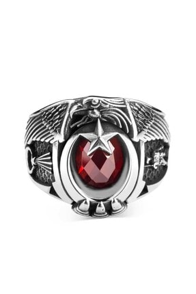 Anı Yüzük Jandarma Şualı Asker Figürlü Devre Yüzüğü Kırmızı Taşlı