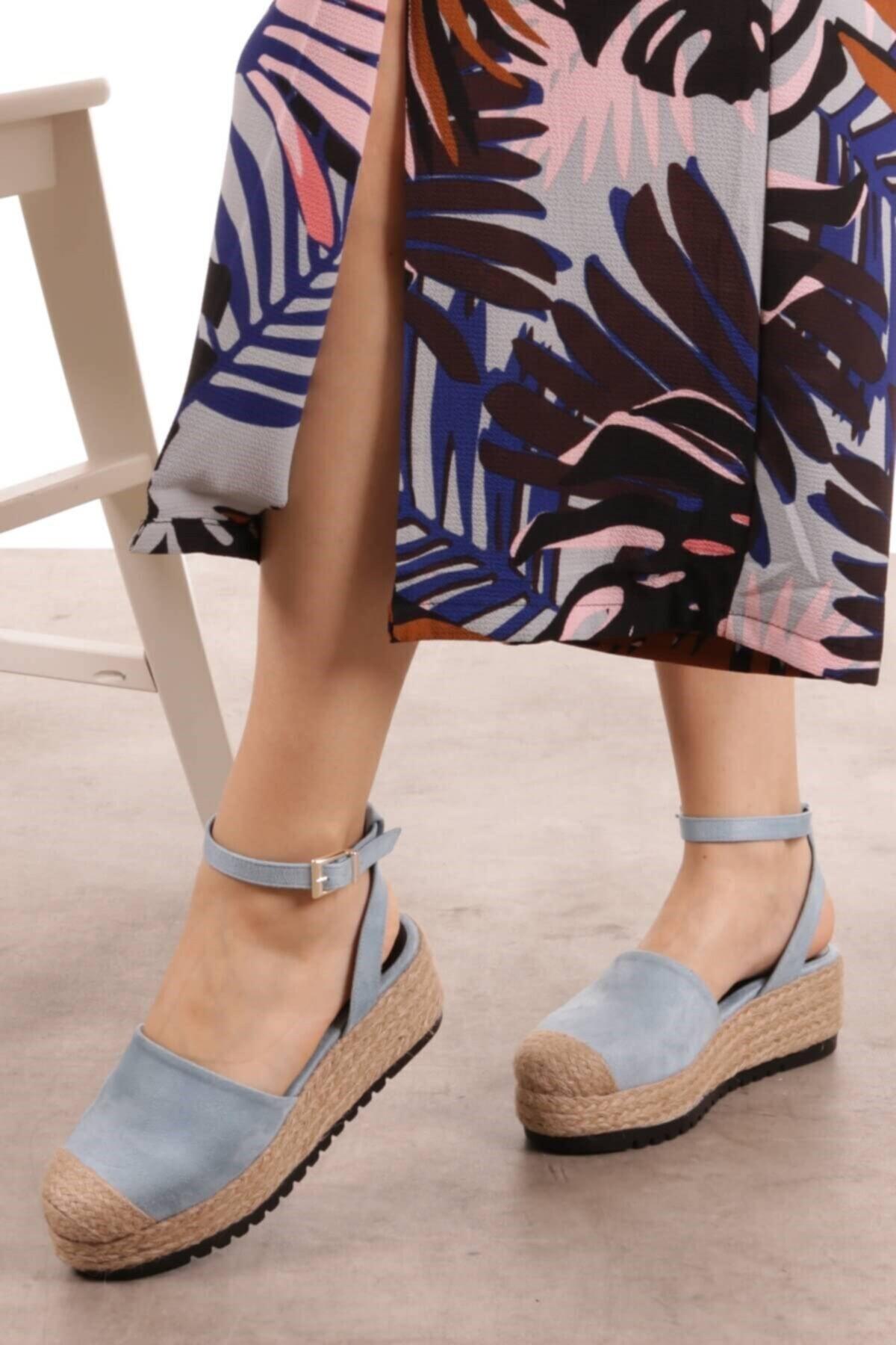 Mio Gusto Janet Mavi Dolgu Tabanlı Sandalet 1