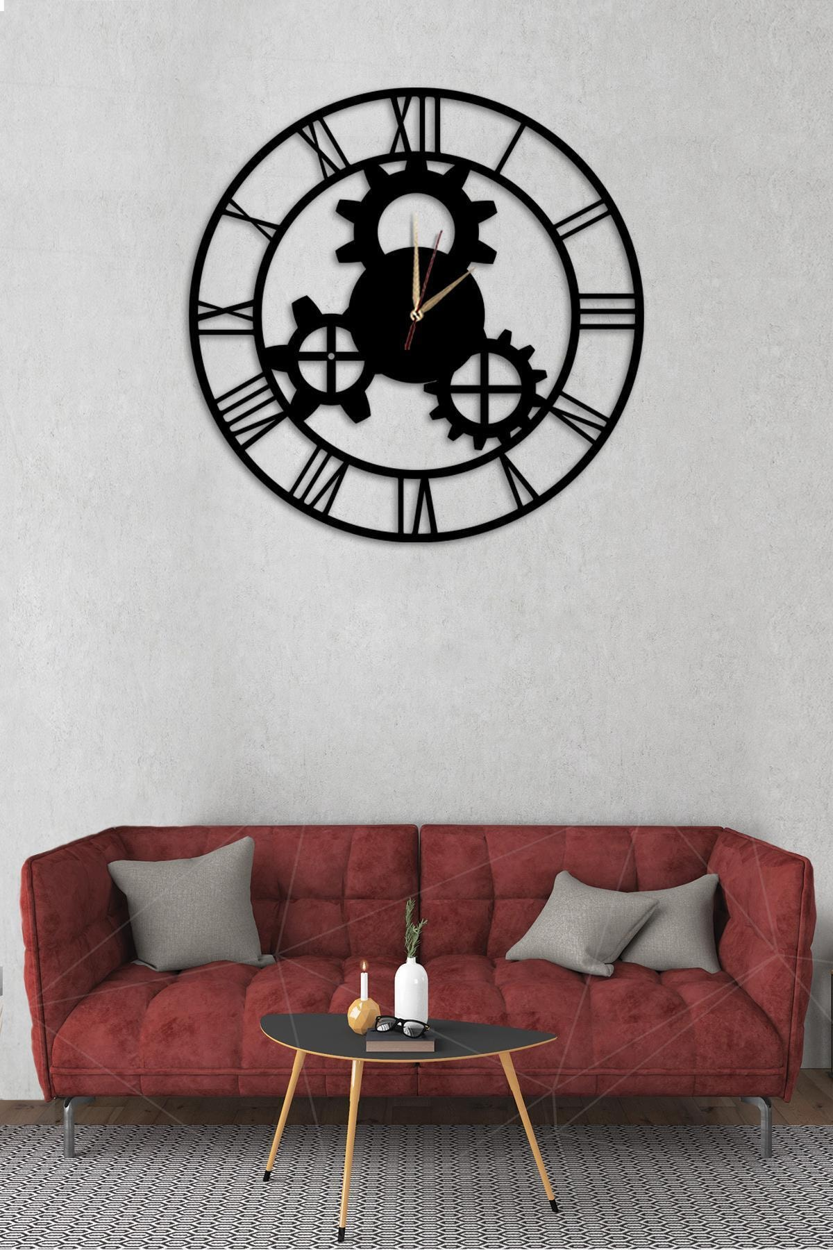 Dekolia Dekolia Klasik Duvar Saati Büyük Ahşap Romen Rakamlı Art1139 1