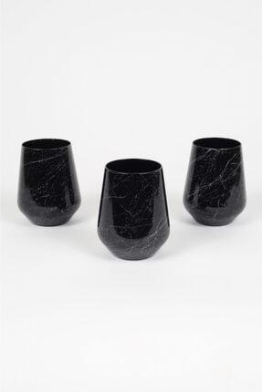 Rakle Marble 3'lü Su Bardağı Seti Siyah
