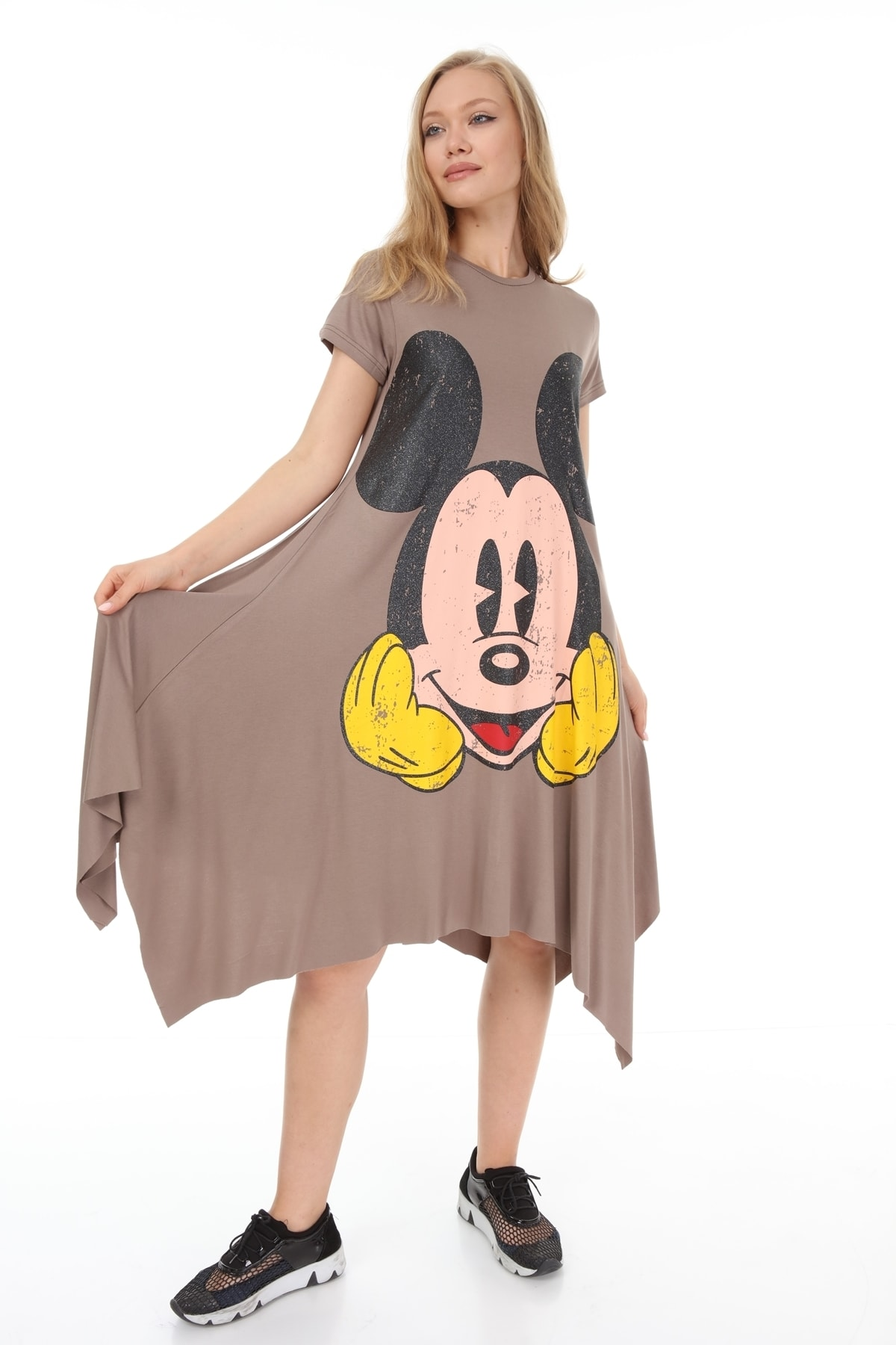 Suanye Vizon Mickey Baskılı Elbise 2