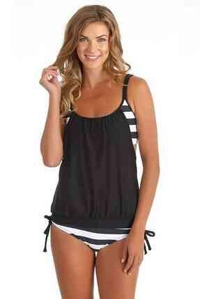 Angelsin Kadın Siyah Beyaz Kalın Çizgili Tankini Bikini Takım