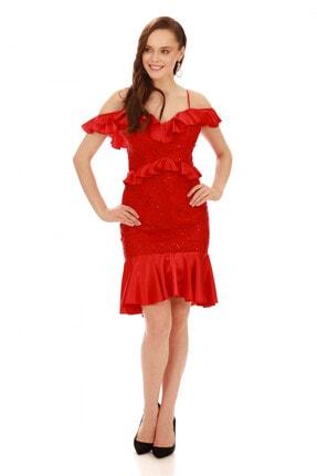 6ixty8ight Kırmızı Dantel Bel Yaka Fırfırlı Kısa Abiye Elbise