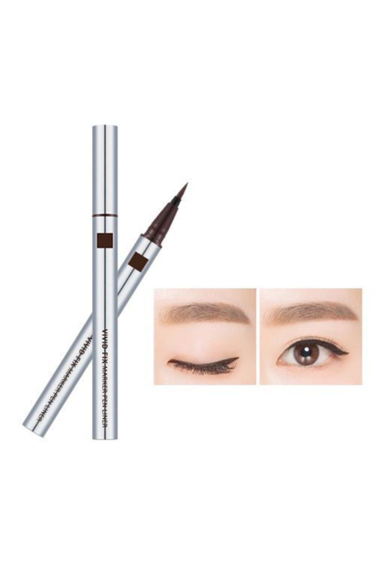 Missha Kadife Bitişli Kalem Liner - Vivid Fix Marker Pen Liner (Deep Brown) 0.6g 8806185798020 1