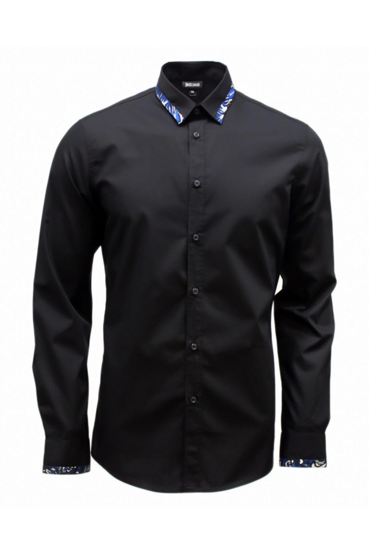 Just Cavalli Erkek Siyah  Cavallı  Desenli Gömlek 1