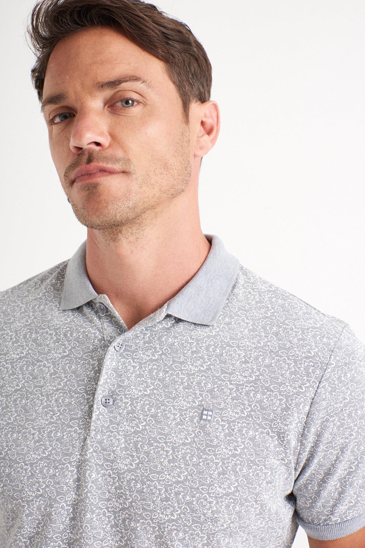 Avva Erkek Gri Polo Yaka Baskılı T-Shirt A01Y1131 1