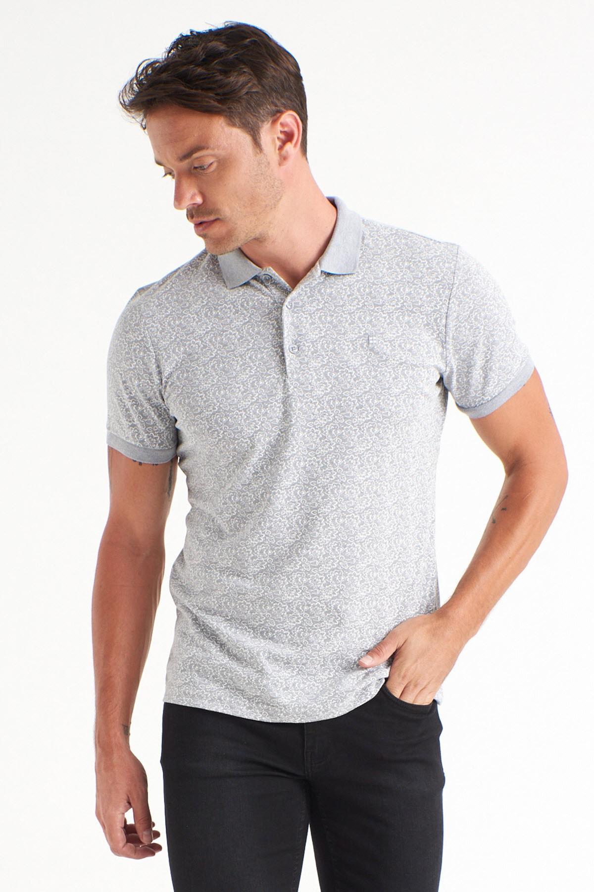 Avva Erkek Gri Polo Yaka Baskılı T-Shirt A01Y1131 2