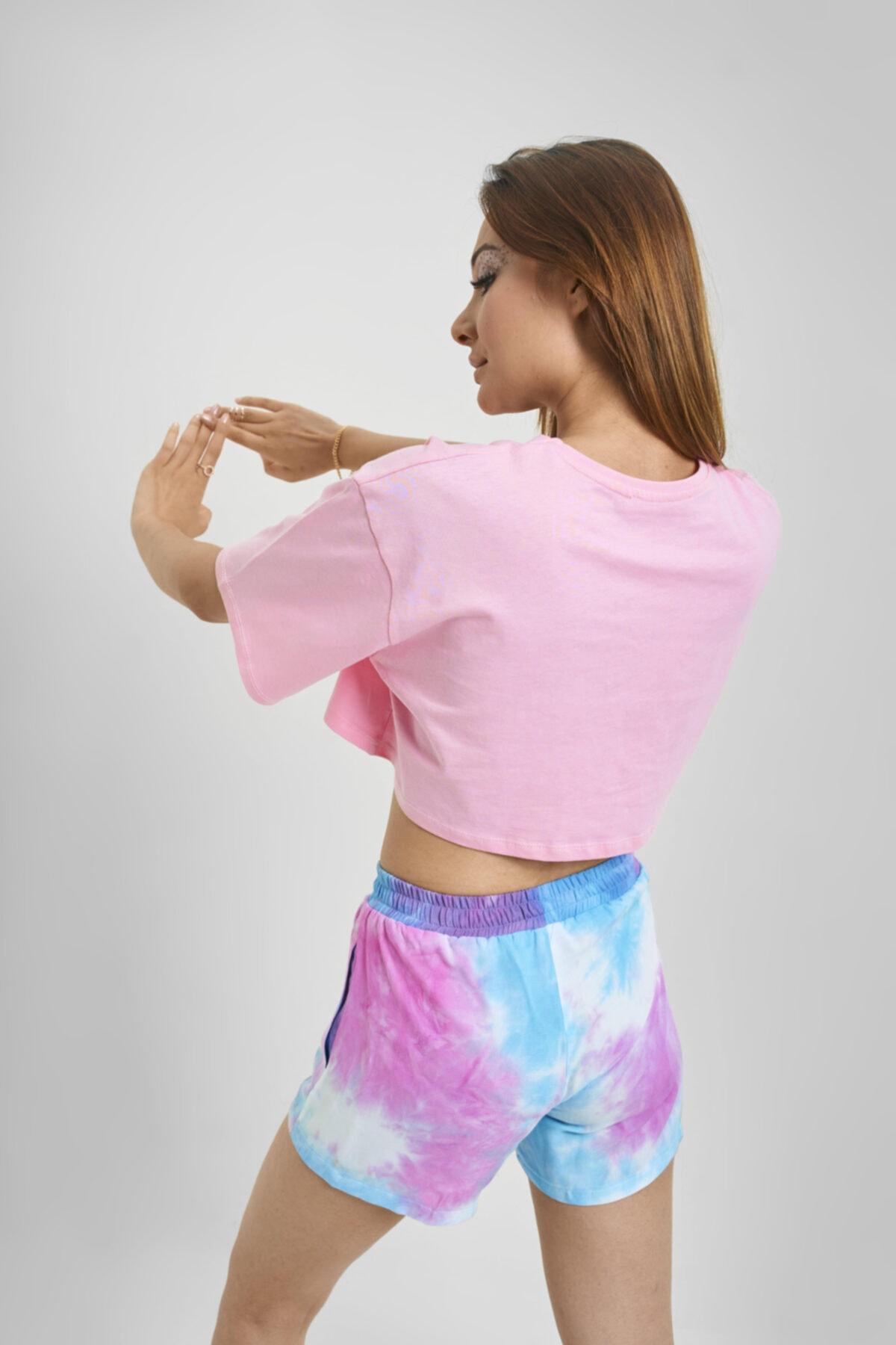 NNUSHOP Kadın Pembe Oversize Crop T-shirt 2