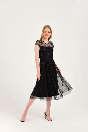 Hanna's by Hanna Darsa Siyah Astarlı Işlemeli Elbise