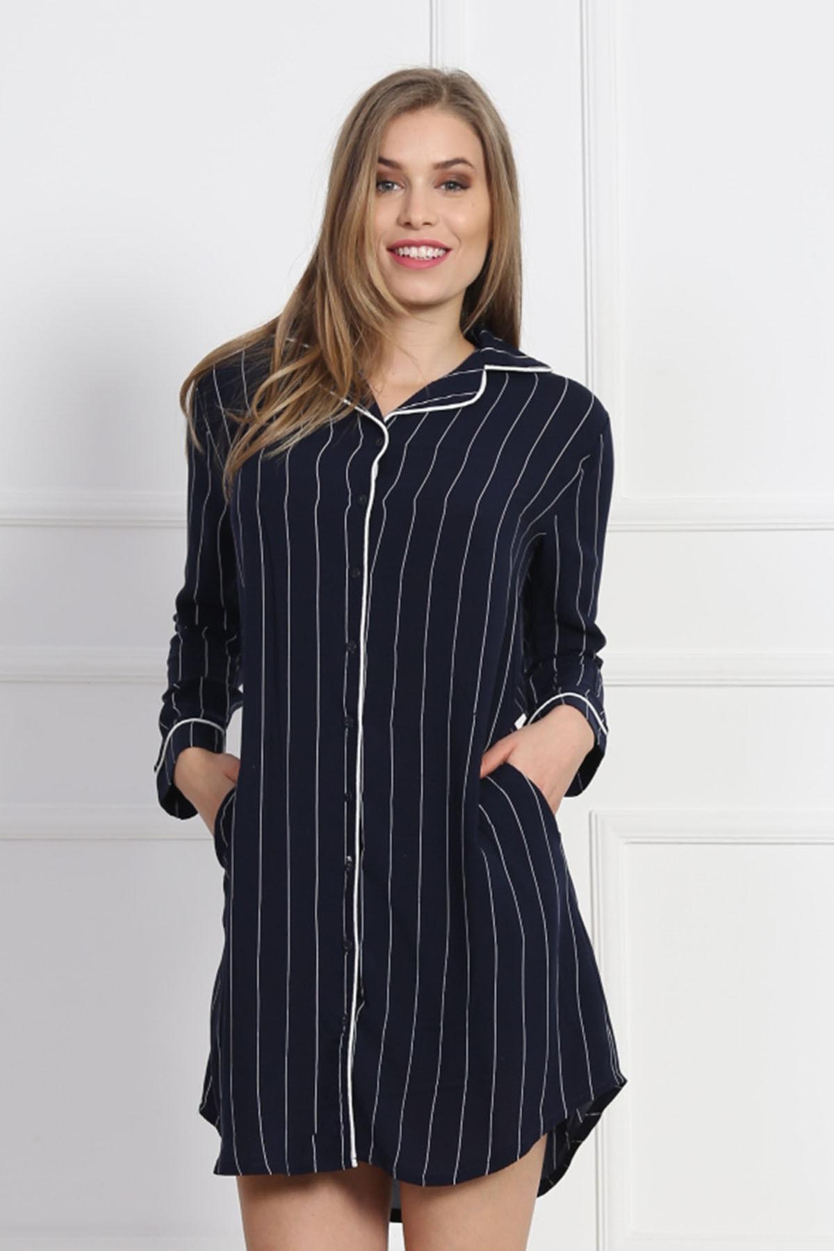VİENETTA Kadın Uzun Kol Normal Beden Dokuma Gömlek 1