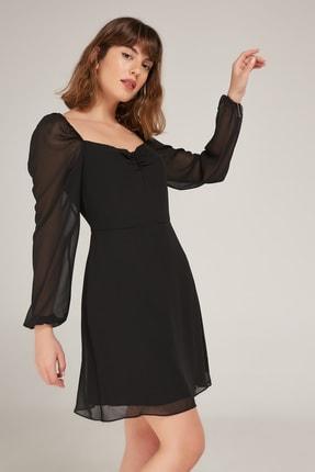 Appleline Kadın Siyah Sırt Dekolteli Abiye Elbise