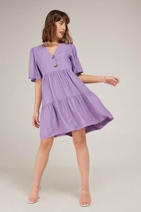 Appleline Kadın Lila Düğme Detaylı Elbise