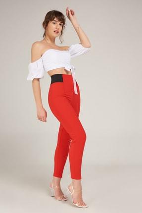 Appleline Kadın Kırmızı Toparlayıcı Yüksek Bel Pantolon